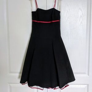 Black and red knee length cocktail dress, small